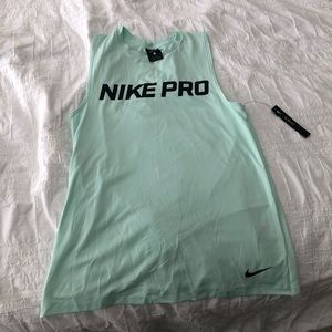 Turquoise blue nike slim fit dry fit workout top